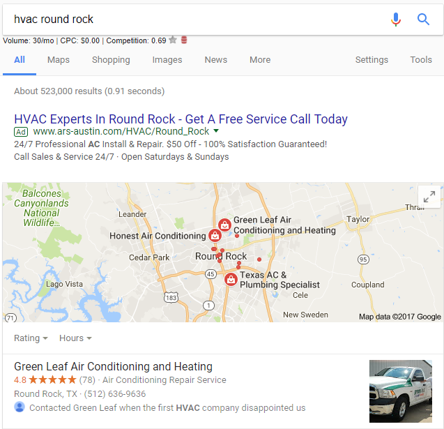 Google Displaying Review Snippets in Local Search Results 2