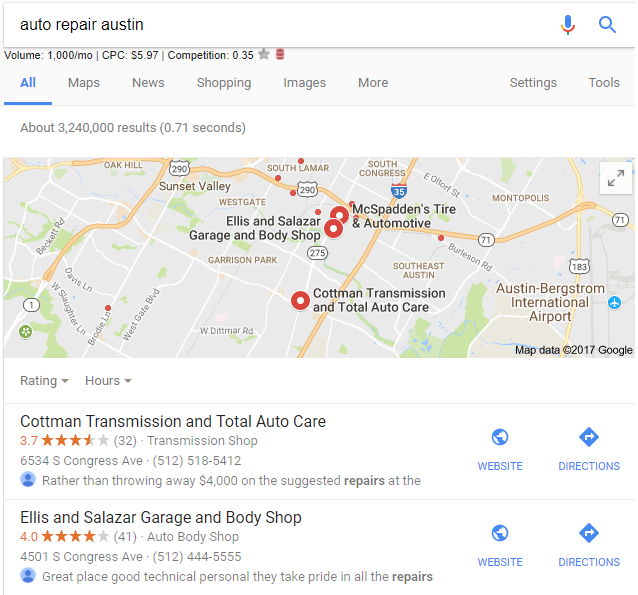 Google Displaying Review Snippets in Local Search Results 3
